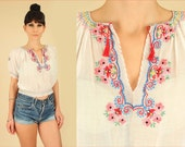 ViNtAgE 20s 30s Artisan Made Hungarian Hand EMBROIDERED Blouse // Floral Sheer Cotton Top // PENNY Lane // Small Medium S / M