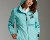 Charles River Rain Coat Raincoat with Monogram Personalized for ladies women with Hood