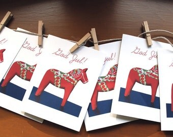 Swedish Christmas Cards - Dala Horse Cards - Scandavian Christmas - Holiday Cards - God Jul - Card Set - Christmas Cards - Greeting Card Set