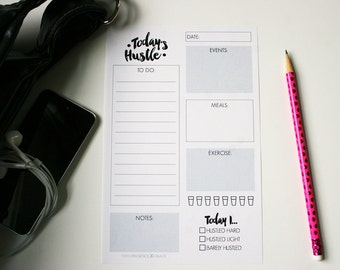 "Today's Hustle Planner | Daily Planner | Digital Download | 2 Sheets | 5.5"" x 8.5"""