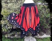 Black and Red Butterfly Wing Skirt Size XL - XXL - Ready to Ship - Festival Boho Gothic Tribal Belly Dance Costume Halloween Goddess Fae