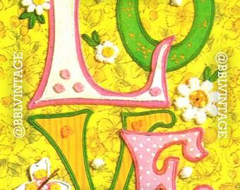 Vintage Digital Greeting Card: Kitsch 70s Love - Digital Download, Printable, Scrapbooking, Image, Clip Art