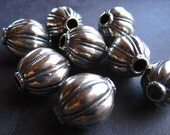 Solid Sterling Silver focal beads - 19mm X 15mm - melon carved