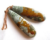 Matching Owyhee Picture Jasper Earring Pair - semiprecious stone beads - drilled teardrops