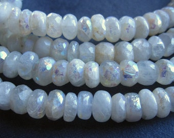 Mystic AB Moonstone Faceted and Smooth Rondelles - 6 1/2 inches - 6.5-7mm X 4mm