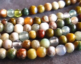 15 1/2 inch strand of 4mm Ocean Jasper semiprecious gemstone smooth polished rounds - round beads
