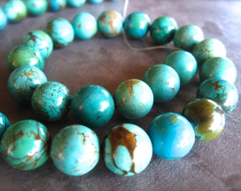 Perfect Chinese Turquoise Rounds - semiprecious gemstone beads - 11mm - 7 1/2 inches