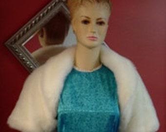 Ivory Bridal Bolero,Faux Fur Wedding Shrug,Short Sleeve Crop Jacket
