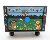 Hand Painted Animal Undokai Japanese Treasure Box with Magnetic Ribbons