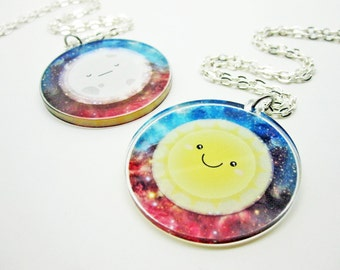 Sun and Moon Reversible Clear Acrylic Necklace