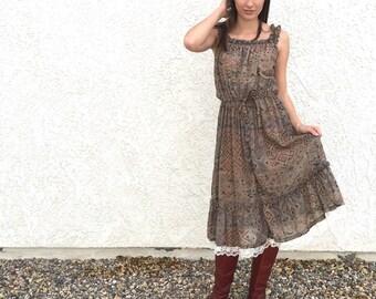 Vintage 70's sheer cotton sundress with lace hem