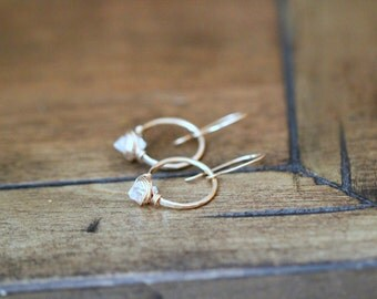 Herkimer Diamond Hoop Earrings ,  Petite Quartz Gemstones in Gold , Rose Gold , Sterling Silver - As Seen On The Small Things Blog