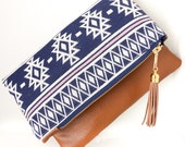 Boho Tassel Clutch in Navy and White Linen and Tan Vegan Leather and Navy and Gold zipper close