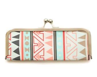 Kisslock Wallet - Tribal Print Coral and Mint Seafoam Aztec - Clutch Wallet - Sleek Women's Frame Wallet