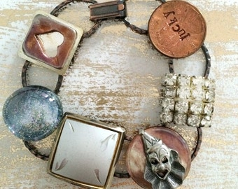 Whimsical Vintage Junk Bracelet - OOAK - upcycled recycled bits and baubles - buttons, clown, lucky penny, heart, sparkle - Mini Collage