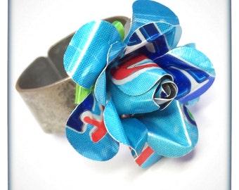 Recycled Jewelry Diet Pepsi Blue Rose Ring From Upcycled Aluminum