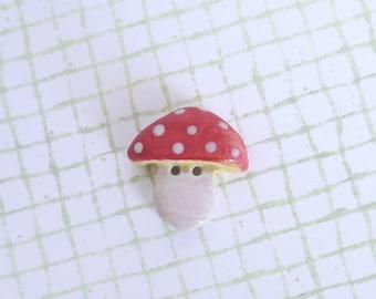 Red Mushroom Button, Porcelain Ceramic Clay
