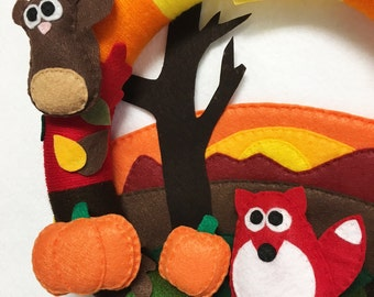 Wreath, Fall Wreath, Autumn Wreath, Autumn Sunset -  Made to Order, Fox, Squirrel, Felt Animals, Felt and Yarn