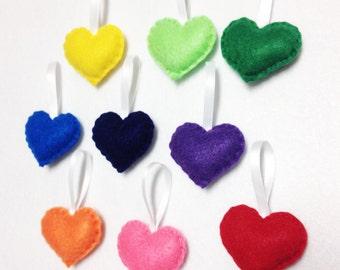 Felt Ornament Set - Rainbow Love - 9 Hearts