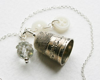 Victorian Silver Thimble Charm Necklace Milk Glass Buttons Crystal Charm