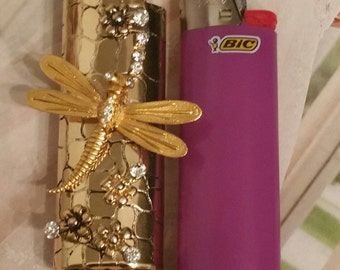 Golden Dragonfly Rhinestone Bling Cigarette Lighter Cover-Bohemian Gypsy Style