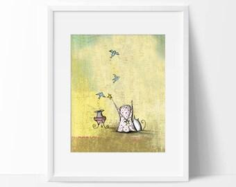 Magic Themed Nursery Art Print, Whimsical Cat and Bird Pastel Art Print, Birds, Cat ,Circus, Magic, Stars, Baby Girl Nursery Wall Art