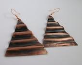 BIG fold formed Triangle copper Earrings- copper jewelry- dangle earrings- rustic copper jewelry