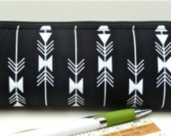 Slim Pencil Pouch Makeup Pouch Brush Bag Zipper Pouch Eco Friendly Black White Arrows