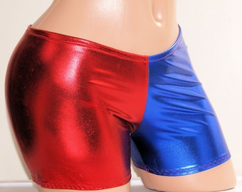 Harley Quinn Suicide Blue Red Longer Boy Shorts Adult All Sizes- MTCoffinz