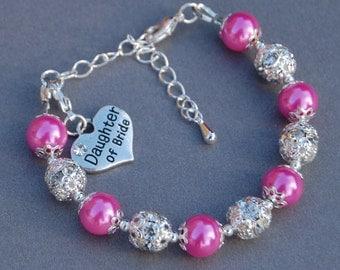 Daughter of Bride, Wedding Kids Gifts, Flowergirl Bracelet, Girls Wedding Jewelry, From Stepdad, Daughter Gift, Blended Family, Stepdaughter