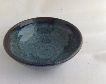 HANDMADE ceramic bowl-blue-all purpose- pottery - serving dish, in stock B17