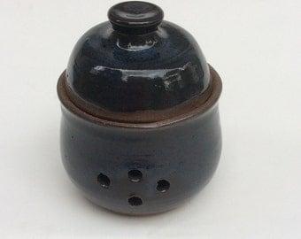 HANDMADE garlic keeper, midnight blue, container, ceramic, pottery, storage, decorative, ready to ship/gift  J4