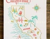 California State Letterpress Print 8x10
