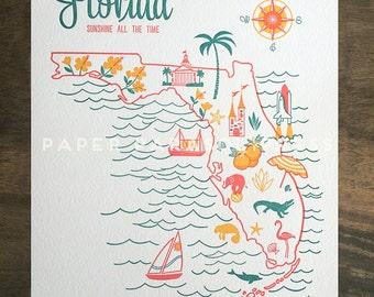 Florida State Letterpress Print 8x10