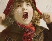 Expressive Face Victorian Girl Tomboy No. 2 Antique French postcard Digi Clip Art