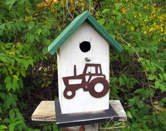 Primitive Birdhouse Rusty Metal Tractor Cut Out