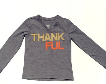 Thankful//Thanksgiving//Fabric Iron On Letter Appliques