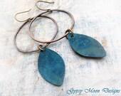 Geometric earrings Copper blue earrings hipster jewelry
