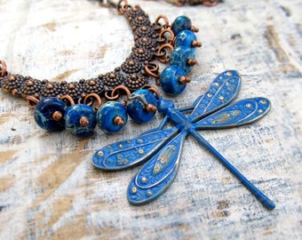 blue Dragonfly statement necklace bohemian jewelry