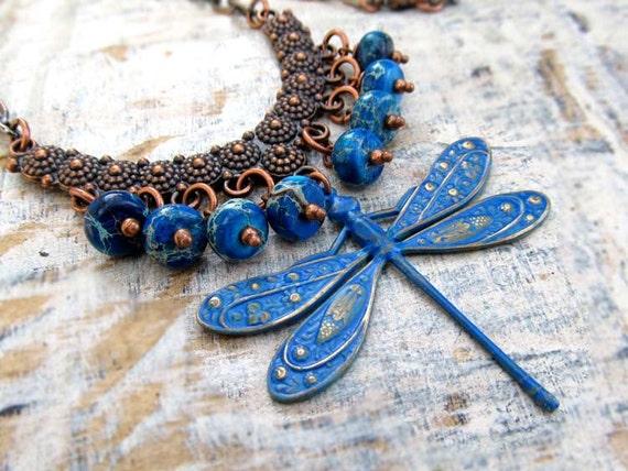 blue Dragonfly statement necklace bohemian jewelry