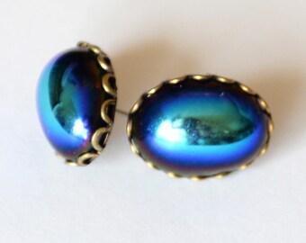 Blue Green Fantasy Earrings, Surgical Steel Stud Earrings, Scarab Inspired Blue Earrings, Iridescent Green Earrings, Metallic Glass, SRAJD