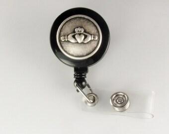 Claddagh ID Badge Reel  beaded lanyard id reel retractable