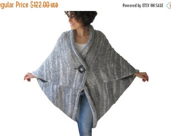 CLEARANCE 50% Plus Size Over Size Light Gray Wool Overcoat - Poncho - Cardigan
