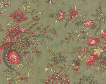 Hyde Park - Half Yard - Floral Large Scale Print Rose Hips Garden Green Flowers Quilting Sewing Designer Fabric Blackbird Designs by Moda