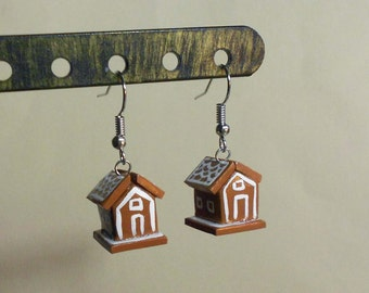 Gingerbread house earrings Christmas Holiday Miniature polymer clay tiny food festive jewelry surgical steel dangly