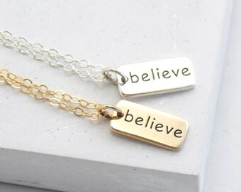 Inspirational Word Necklace | Believe Necklace | Believe Charm | Inspirational Gift | Word Charm Necklace | Silver or Gold