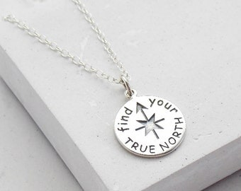 Silver Compass Necklace | Find your True North | Graduation Gift | Wanderlust Travel Necklace | Sterling Silver