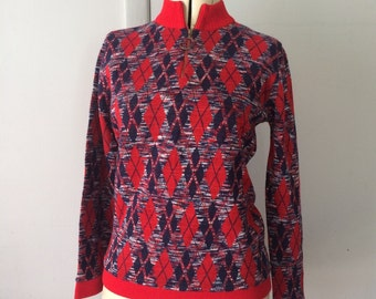 1970's Argyle Space Dyed Red White and Blue Slender Cut Mock Turtleneck Sweater with Metal Zipper Pull Ribbed Details by Pandora
