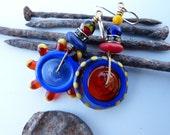 Asymmetrical Spinner Earrings in Blue, Orange, Yellow and Red