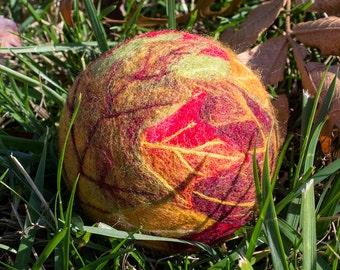 "Needle-Felted Seasons Ball - Harvest ""Fallen Leaves"" OOAK"